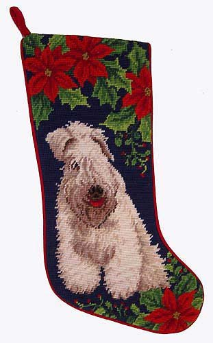 Wheaten Terrier Christmas Stocking 100% Wool Hand-Stiched Needlpoint: Precious