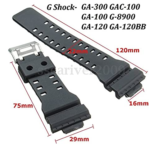 Replacement WATCH STRAP to fit 10347688 CASIO G-SHOCK GA-100 G8900 Black Rubber Resin New (The Hundreds G Shock)