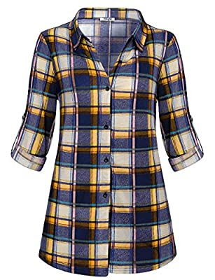 Hibelle Womens Casual Long Sleeve Tartan Blouse Button Down Fashion Plaid Shirt