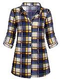 Hibelle Womens Casual Long Sleeve Tartan Blouse Button Down Fashion Plaid Shirt