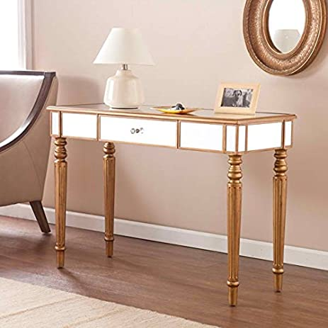 Awesome Table / Console Tables, Champagne Gold Fontaine Mirrored Sofa/ Console Table  OS3348KC In Goldtone