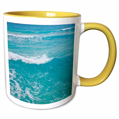 3dRose Danita Delimont - Mexico - Mexico, Quintana Roo, Cancun, Caribbean Sea - SA13 RBI0058 - Randa Bishop - 11oz Two-Tone Yellow Mug (mug_86757_8) (Blue Cancun Plate Light)