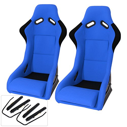 Universal JDM Blue Black Cloth Non-Reclinable Racing Bucket Seat Pair SPG Profi Style Pole Position + (Bucket Style Seat)