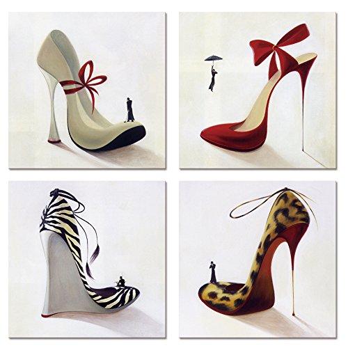 Visual Art Decor High Heel Shoes Canvas Wall Art Innovational Protect Animals Series Design Shoes Prints Shoes Shop Dress Room Wall Decor (16