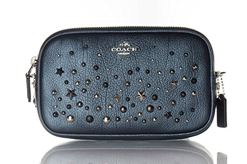COACH Women's Metallic Star Rivets Crossbody Clutch Sv/Metallic Blue Clutch