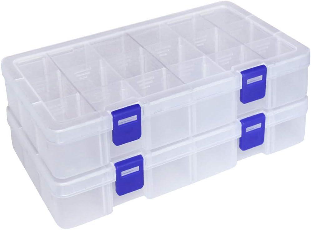 Qualsen Ajustable Caja de Almacenamiento de plástico Joyería Organizador Contenedor de Herramientas (18 Compartimientos x 2, Transparente)