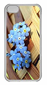 iPhone 5C Case, Personalized Custom Ws Blue Forget Me Not Flowers for iPhone 5C PC Clear Case