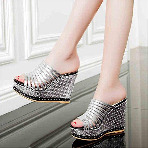 LIXIONG Portátil Pendiente con zapatillas Fondo femenino de verano de la plataforma impermeable de espesor era delgado antideslizante usan sandalias sexy 11cm tacones altos -Zapatos de moda ( Color :  A