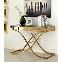 Furniture of America Dorelle Contemporary Glass Top Sofa Table, Brass