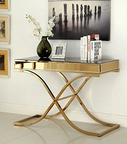 Furniture of America Dorelle Contemporary Glass Top Sofa Table, Brass (Table Brass Glass)