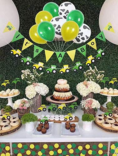 Baby Shower Decorations for boy,John Deere,Farm Birthday Party Supplies, Tractor Party Supplies, 12 pc Tractor Cupcake Topper,3 Cow Print Balloons Plus 3 Yellow and 3green, It's A Boy Tractor Banner]()