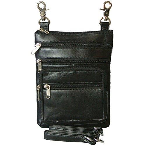 Texcyngoods Leather Belt HIP Bag Biker Crossbody Purse with 6 Zippers - Biker Handbags
