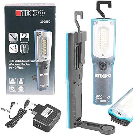 Tecpo 300550 Akku Werkstattlampe 1000 Lumen 27 Smd Led S 10 3 Watt 6500 Kelvin Ip 54 Arbeitslampe Stirnlampe Stablampe Magnetisch Lithium Lonen 3 7v 6600 Mah Baumarkt
