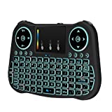 Air Mouse for TV Box, Android tv Remote Control 2.4GHz Handheld Wireless Mini Keyboard with Touchpad Mouse compatible with Android/Windows/Mac/HTPC/IPTV/Raspberry Pi with Rainbow Backlight