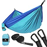 SONGMICS Ultra-Lightweight & Portable Hammock Hold up to 660LB Single & Double Parachute Nylon Camping Hammock Swing Bed 118'' x 78'' for Outdoor Backpacking, Hiking, Yard, Traveling UGDC20BU
