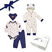 Baby Boy Gift Set - 4 Piece Baby Fox Outfit Bandana Set with Gift Box Unique Gift idea for Baby Showers (3-6 Month)
