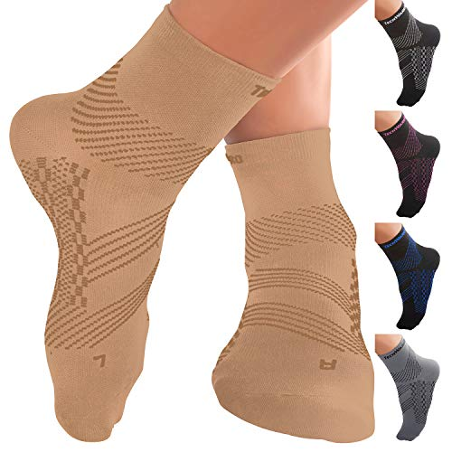 TechWare Pro Ankle Brace Compression Socks - Plantar Fasciitis Pain Relief Sock with Arch Support. Foot Sleeve Relieves Achilles Tendonitis & Heel Pain. Women & Men. (L, Black/Blue) ()