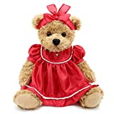 Oitscute Small Baby Teddy Bear with Cloth Cute Stuffed Animal Soft Plush Toy 10' (Red lace Dress)