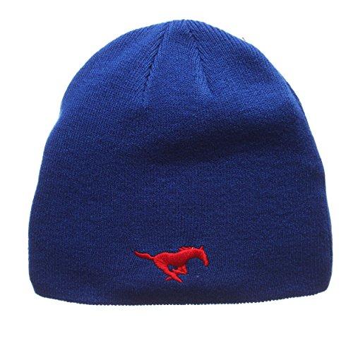 ZHATS SMU Mustangs Royal Edge Skull Cap - NCAA Cuffless Winter Knit Beanie Toque - Cap Skull Royal Winter