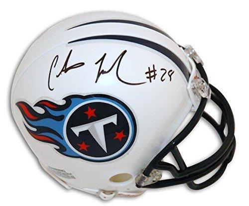 Johnson Autographed Mini Helmet (Autographed Chris Johnson Tennesse Titans Riddell Replica Mini Helmet - Certified Authentic Signature)