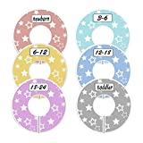 Blulu Colorful Baby Boy Girl Closet Dividers Clothing Rack Size Dividers Round, Stars Design, Set of 6
