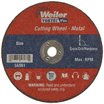 """Weiler Tiger 1/4"""" Arbor, 0.035"""" Thickness, 3""""Diameter, A60T Grit, Small Type 1 Reinforced Cut-Off Wheel"""