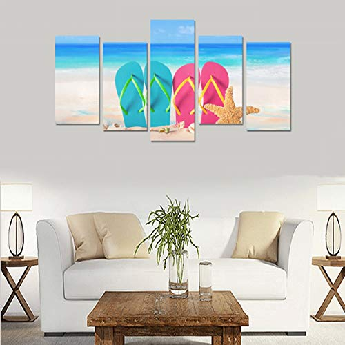 Beach Flip Flops In Rainbow Color (no Frame)canvas Print Sets Wall Art Picture 5 Pieces Paintings Posters Prints Photo Image On Canvas Ready To Hang For Living Room Bedroom Home Office Wall Decor ()