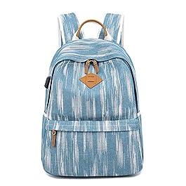 Yousu Women Canvas Backpack Vintage College Girls School Bag with USB Charging Port