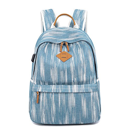 Womens Backpack, Yousu Fashion School Backpacks for Girls Water-resistant Canvas Backpack College Bookbags with USB Charging Port