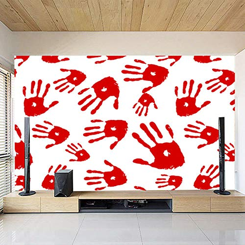 Wallpaper Wall Mural Large Custom Home Decor 3D Bloodstained Bedroom Tv Background Wallpaper Handprints Mural Halloween Decal,400Cmx280Cm -