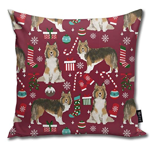 shirt home Sheltie Christmas Xmas Holiday Shetland Sheepdog Design - Ruby Red Comfortable Soft Bed Pillow Case Household Pillow Case Office Bolster 18x18 Inches (And Bath Teepee Table Bed)