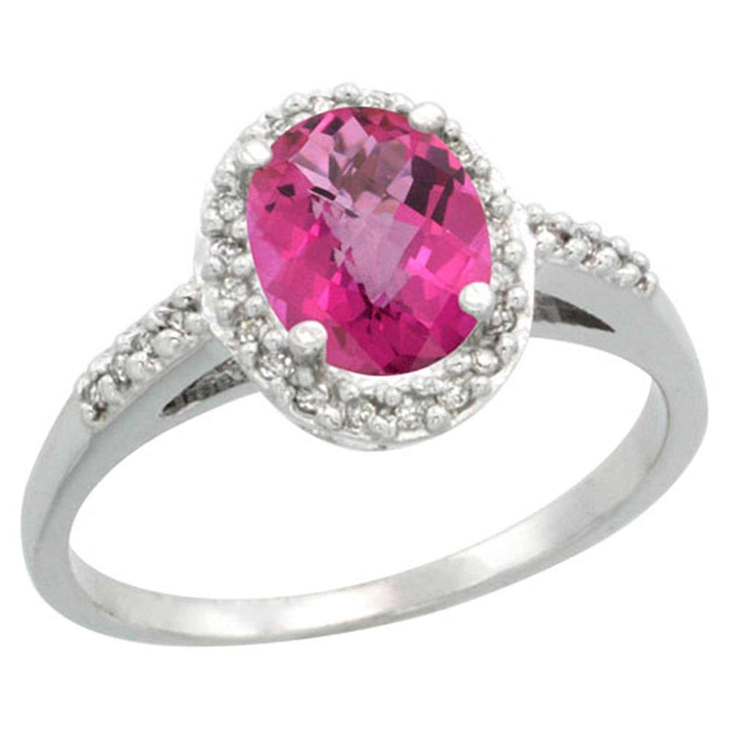 Sterling Silver Diamond Natural Pink Sapphire Ring Oval 8x6 mm ...