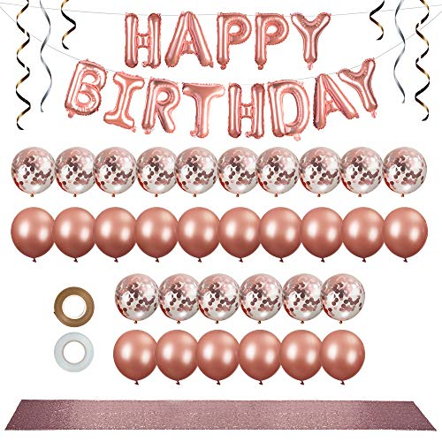 Rose Gold Party Decorations Set (36 Pcs) - 12 in Rose Gold Balloons (confetti & solid latex) - Rose Gold Happy Birthday Balloon Banner with Premium Rose Gold Table Runner & Hanging Ribbon