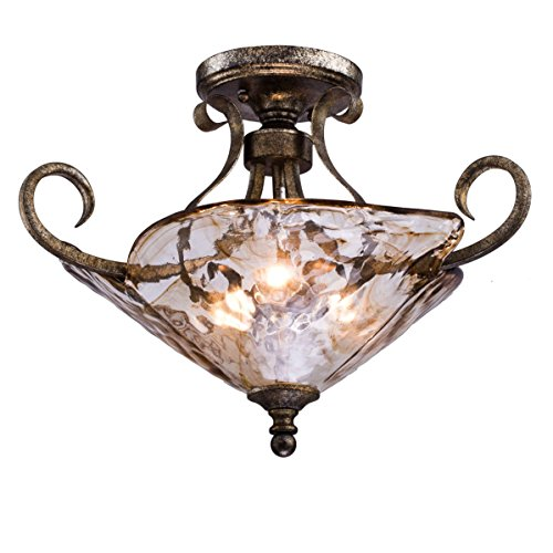 Spanish Ceiling Lighting - Dazhuan Vintage Glass 3-Light Semi Flush Mount Ceiling Lamp Light Fixture