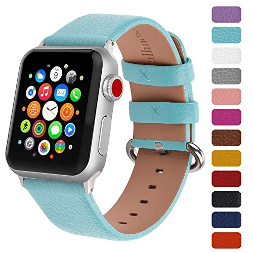 - Fullmosa Classic Litchi Leather Watch Band for Series 4/3/2/1, 12 Colors iWatch Band Women Men with Silver Buckle 42mm,Sky Blue