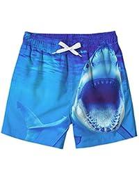 Boys Swim Trunks 3D Shark Elastic Waist Quick-Drying Board Shorts Funny Outdoor Sports Swimsuit 8-9T