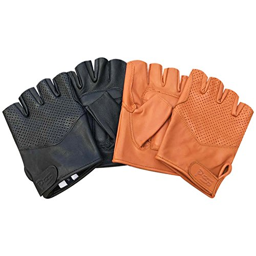 Prime Leather Real leather foam padded half finger classic bus driving cycling wheelchair fashion gloves 312 (312-Black, L)