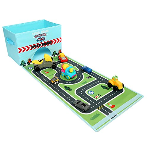Livememory Cars Kids Toy Storage Box Play Mat Toys Storage Bin Speed Roads  (Not Included