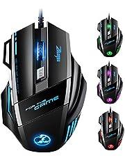 Souris Gamer LED Optique 5500 DPI VicTsing Zelotes Souris de Jeu 7 Boutons Souris Gaming Filaire Profesionnel Gaming Mouse USB de Haute Précision avec 5 Niveux DPI Réglable pour Pro Gamer