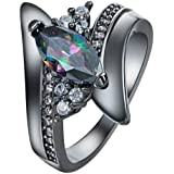 Cool Colorful Rhinestone Crystal Gun Black Finger Ring Unisex Men Women WelcomeShop (6)