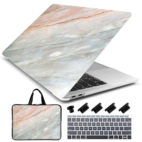 Dongke Laptop Case for New MacBook Air 13 Retina (2019/2018, Touch ID) with Keyboard Cover + Sleeve + Dust Plug Plastic Hard Shell Case A1932 (Pink Marble)