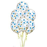 12 Inch Gold,Sea Blue,Light Blue Round Confetti Balloons,20 Count,Confetti Has Been Loaded Into The Balloons