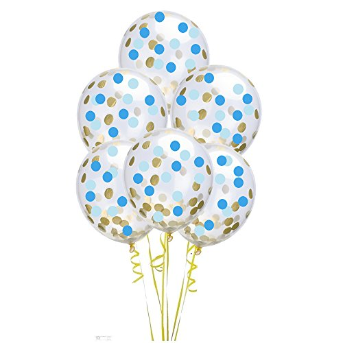 FUNPRT 12 Inch Gold,Blue,Light Blue Round Confetti Balloons,12 Count,Confetti Has Been Loaded Into The Balloons