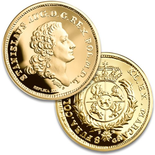 900 Fine Gold Coin - Replica of the 1766 King Stanislaw August Poniatowski by Polish Commemorative Medal Collection