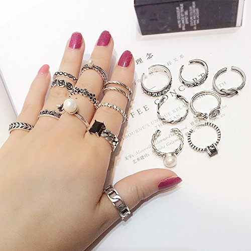 Generic The new Thai silver retro ring ring opening Korean combination packages tail ring joints Beautiful child couple rings by Generic