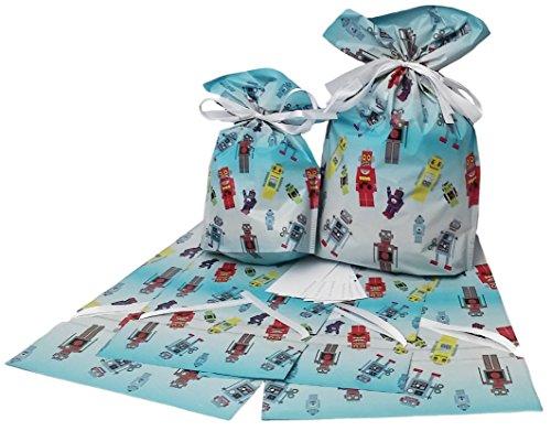 GiftMate Robot Drawstring Gift Bags 6 Pc