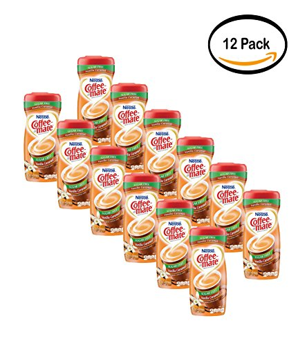 PACK OF 12 - Nestle Coffeemate Sugar Free Vanilla Caramel Powder Coffee Creamer 10.2 oz. Canister by Coffee-mate