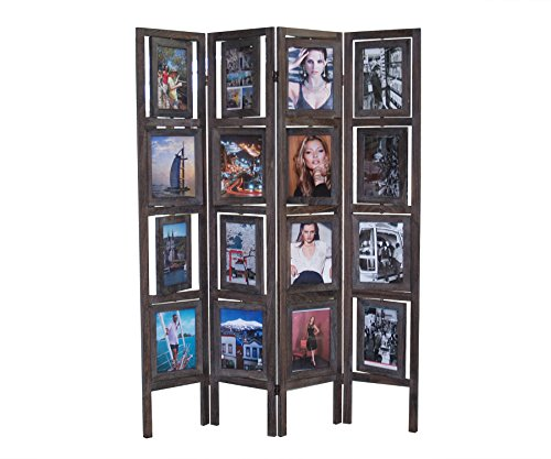 Proman Products Oscar II Picture Folding Screen Wood in Torched Brown by Proman Products