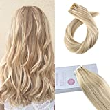 Moresoo 18 Inch Remy Hair Extensions Tape in Human Hair 40PCS 100G Full Head Tape in Hair Extensions Honey Blonde #14 Highlighted with Bleach Blonde #613 Color Skin Weft Remy Human Hair