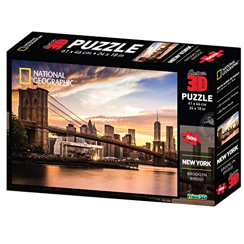 (Super 3D National Geographic Brooklyn Bridge New York City Jigsaw Puzzle 500 Pieces)